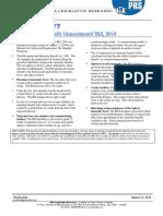 Bill Summary -- The Maternity Benefit (Amendment) Bill, 2016