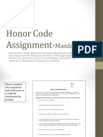 Honor Code Assignment 2016 2017 Ppt PDF
