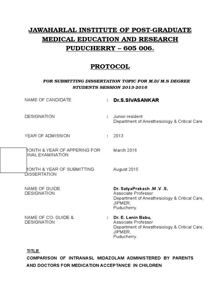 jipmer dissertation topics