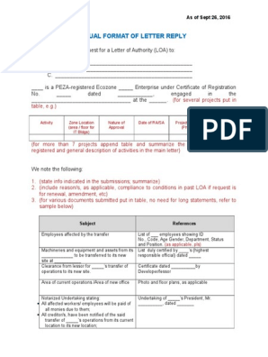 TEMPLATES FOR VARIOUS LETTERS OF AUTHORITY AND PROJECT