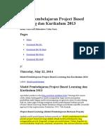 Model Pembelajaran Project Based Learning Dan Kurikulum 2013