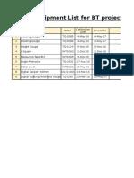 Calibration List