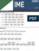 IME 2017 - Prova Objetiva 1ª Fase