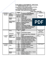 Date Sheet for M.a M.sc. Part - II (Annual System)