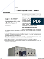 Installation of MV LV Switchgear & Panels - Method Statement