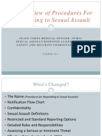 Peace Corps SA OSS Training  Overview of Procedures for Responding to Sexual Assault