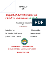 Impact of Advertisement on Children Behaviour