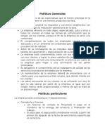 Políticas Generales, Particulares, Objetivos Particulares, Funciones Particulares