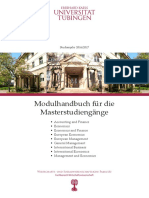 Modulhandbuch MSc Economics, University of Tuebingen
