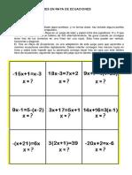 Actividad Tres en Raya Ecuaciones de Primer Grado