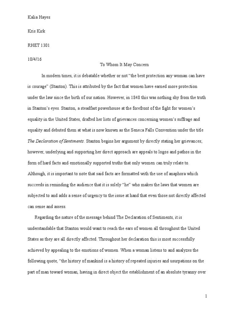 rhetorical analysis of the declaration of sentiments