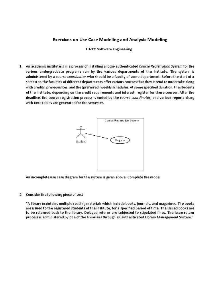 Exercise On Use Cases And Analysis Modeling Use Case Libraries