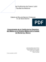 Conocimiento de la carta de derechos del medico entre los profesionistas de la salud en Monterrey, México