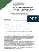 ESTUDIO DE LA RELACIÓN ENTRE LAS ENERGÍAS CINÉTICA Y POTENCIAL DE UN DESLIZADOR EN UN RIEL DE AIRE