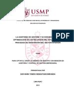 Auditoria de Gestion y Su Incidencia en La Optimizacion de Los Recursos Del Estado en Los Procesos de Aquisicion Del Sector Interior