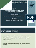 Balances de Materia procesos no reactivos