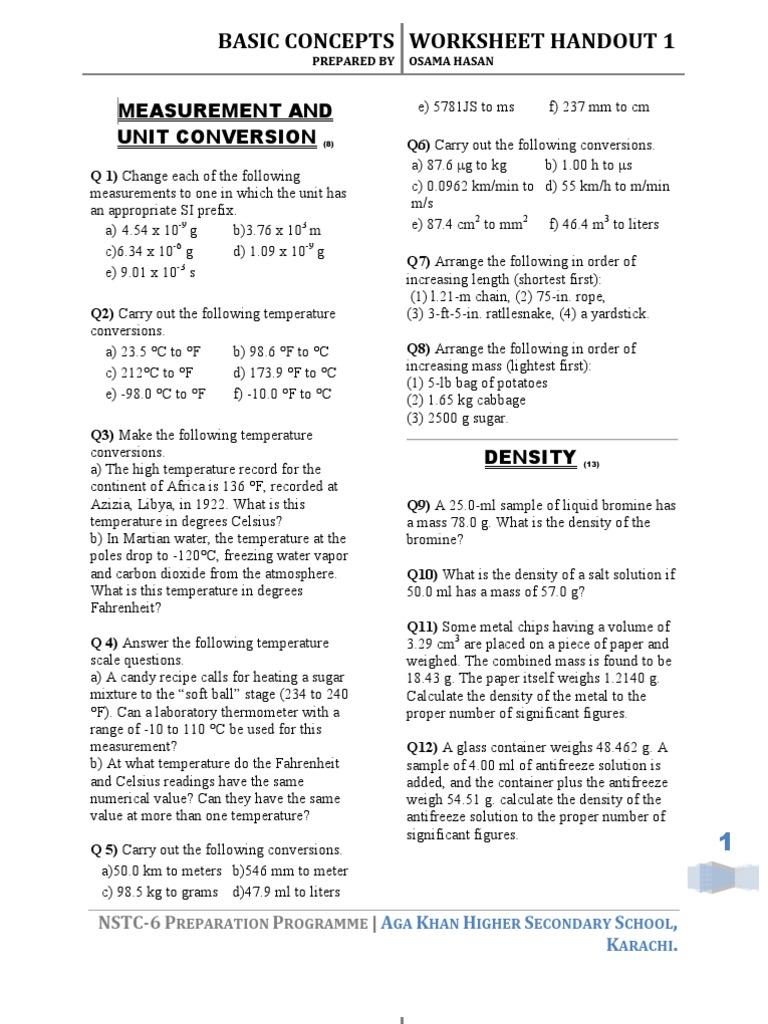 Chemistry Worksheets Handouts Gases Atmospheric Pressure