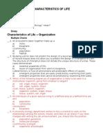 Characteristics of Life -- Questions -- 2006