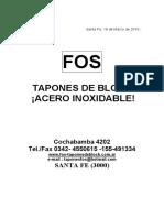 Tapones catalogo