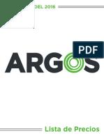 Lista de Precios Argos Julio2016