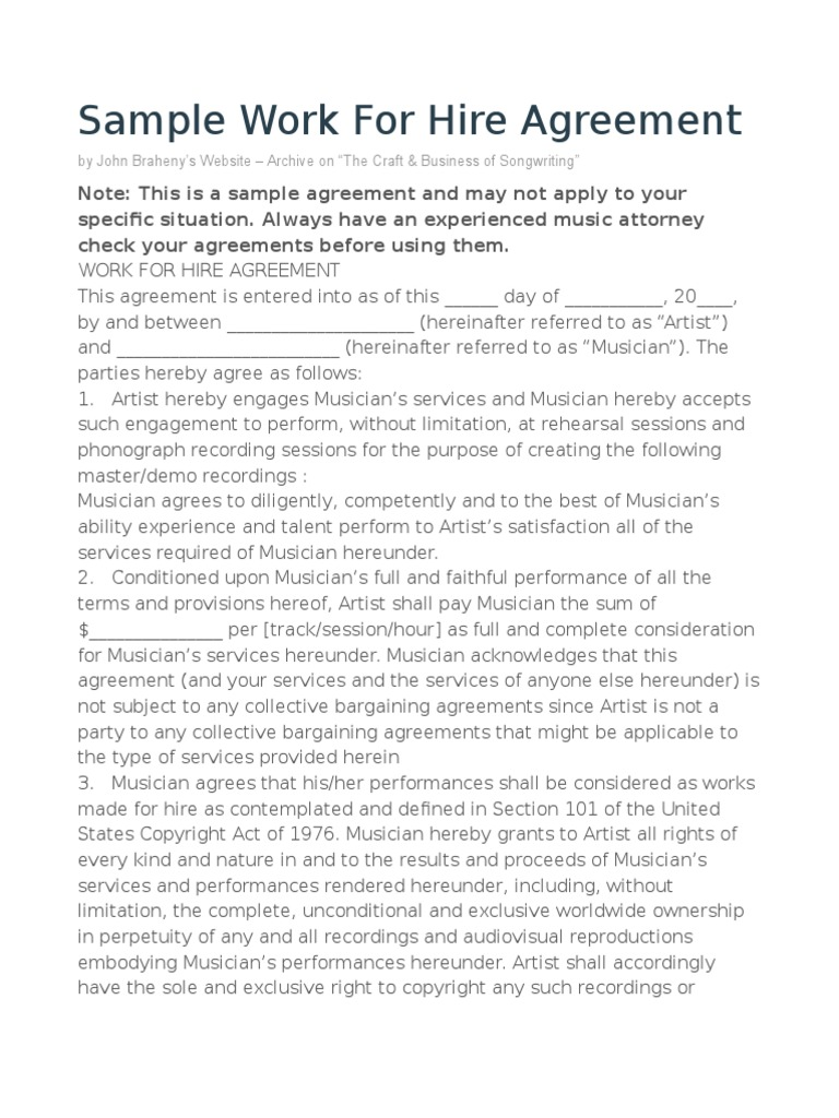 Sample Only Jbraheny Work For Hire Agreement Copyright Common Law