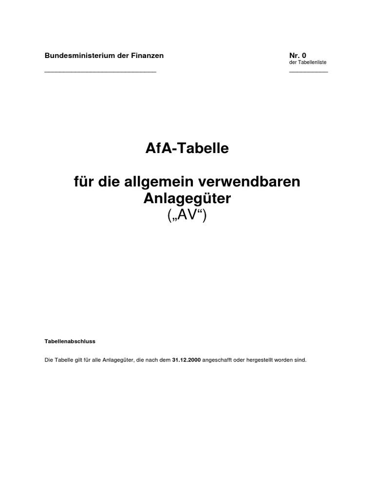 AfA-Tabellen