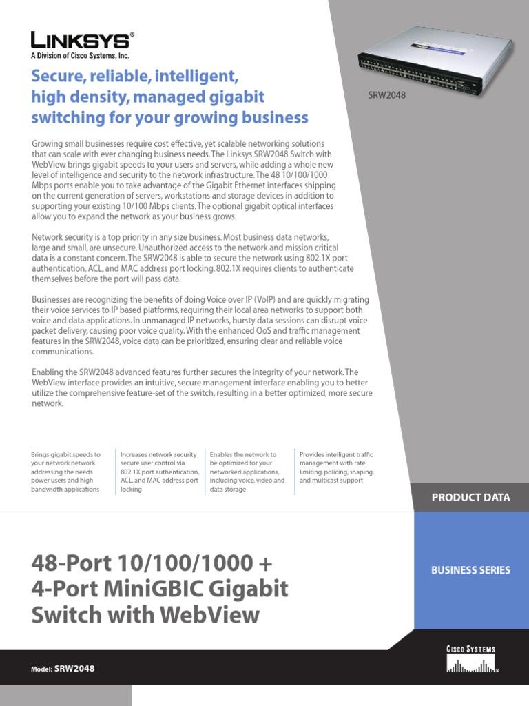 switch 48-port Linksys-SRW2048 datasheet | Network Switch