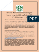National Workshop on Koha by Sher Afzal Khan