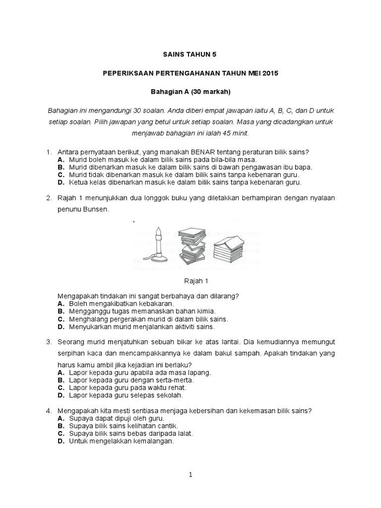 Soalan Peraturan Bilik Sains Tahun 5