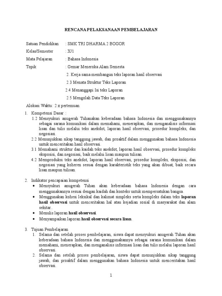 Rpp Bahasa Indonesia Kurikulum 2013