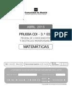 Cuadernillo MatemaTicas 2015 CDI 3ESO