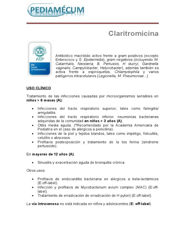 Claritromicina Drogas Medicina Clinica
