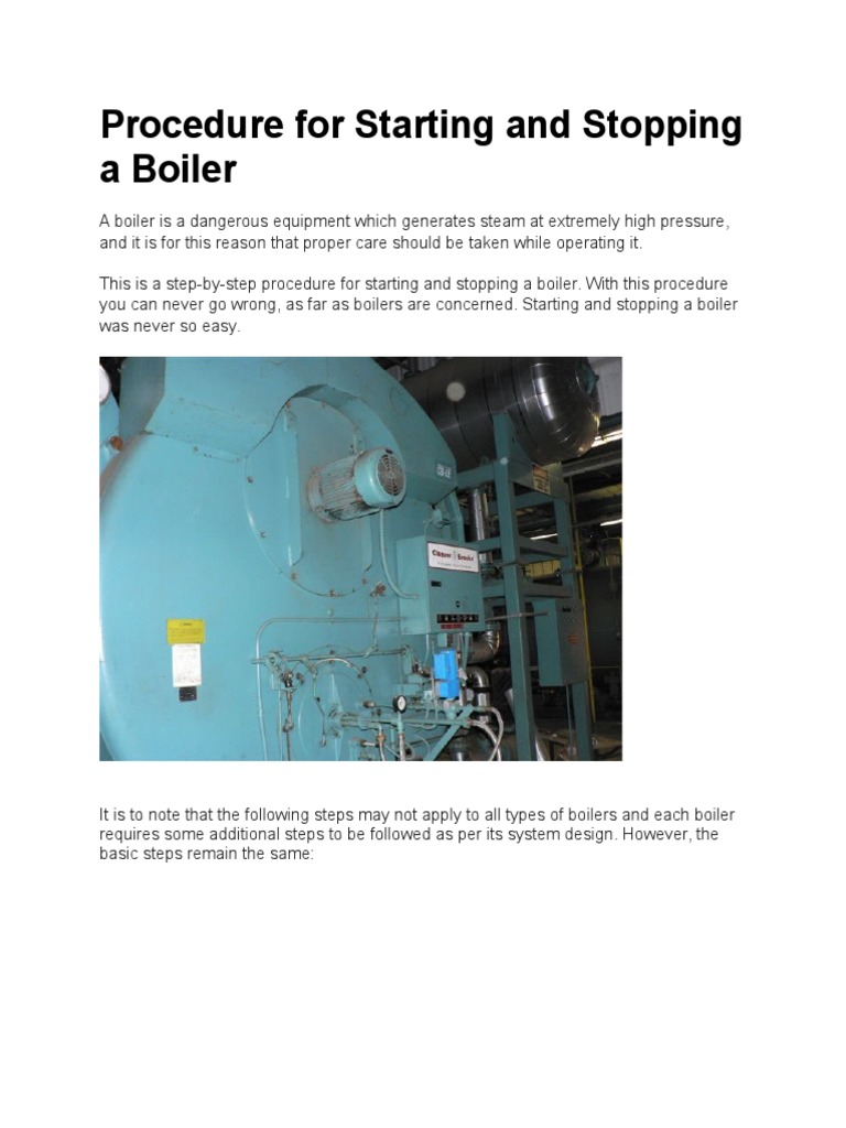 Procedure for Starting and Stopping a Boiler | Boiler | Gases