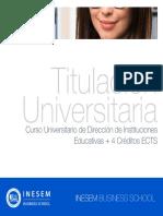 Curso Universitario de Dirección de Instituciones Educativas + 4 Créditos ECTS