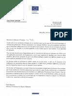 Lettre de Jean-Claude Juncker à Paul Magnette