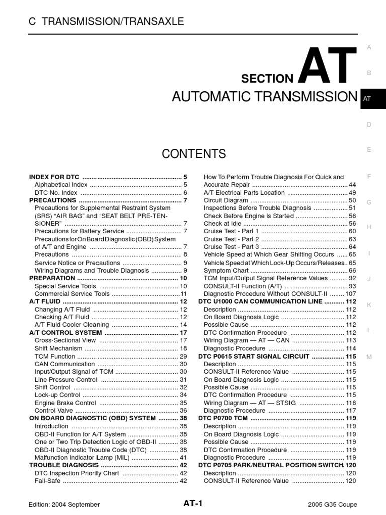 2005 Infiniti G35 Automatic Transmission   Airbag