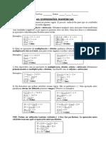 Expressoes Numericas - Explicação e Exercicios