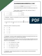 Verificação de Aprendizagem Matemática- 5º Ano
