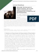 Revista Observaciones Filosóficas - Sloterdijk 'Normas Para El Parque Humano'; De La Carta Sobre El Humanismo a Las Antropotecnias y El Discurso Del Pos-thumanismo