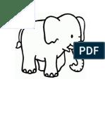 Plantilla Para Dibujar Un Elefante de Caricatura