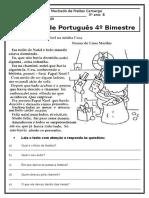 Prova de Português 3º Ano 4º Bimestre