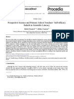 Prospective Science and Primary School Teachers' Self-efficacy Beliefs in Scientific Literacy