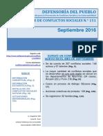 Reporte Mensual de Conflictos Sociales N 151 Septiembre 2016