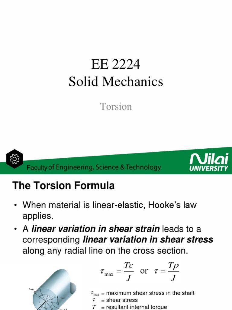 EE2224 - Solid Mechanics - Torsion   Stress (Mechanics)   Gear