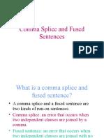 Comma Splice and Fused Sentences