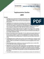 Health Care Reform Implementation Timeline