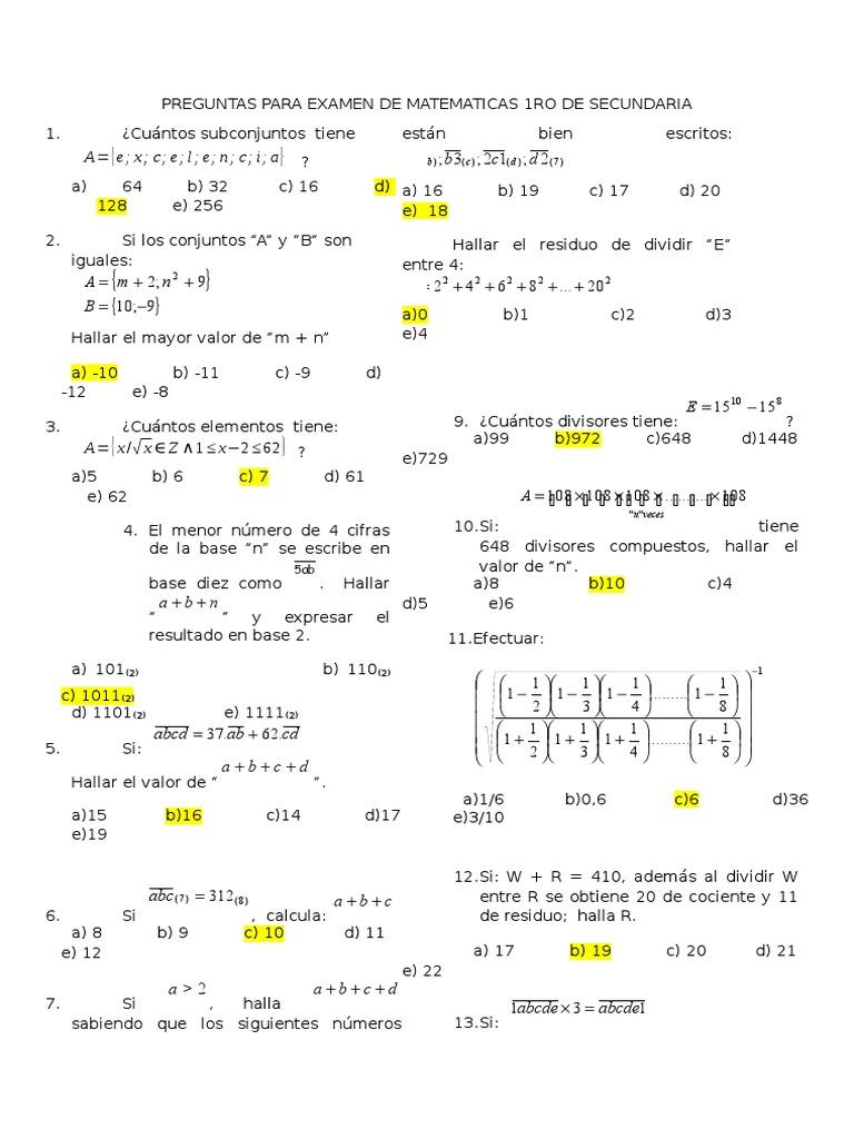 Preguntas Para Examen De Matematicas 1ro De Secundaria Aritmetica Matematica Elementar
