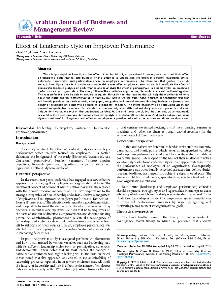 the effect of leadership style on Review paper: leadership styles nanjundeswaraswamy t s and swamy d r department of industrial engineering and management, jss.