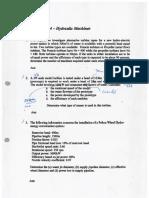 Tutorial Sheet 3 - Hydraulic Machines