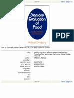 Sensory Evaluation of Food (O'Mahony)